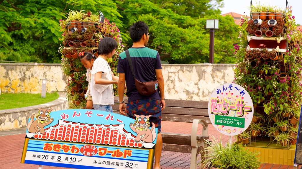 Okinawa featuring a garden, signage and outdoor art