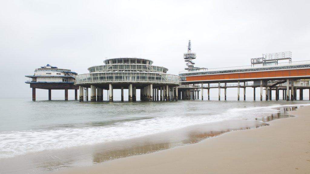 Scheveningen Pier featuring a sandy beach