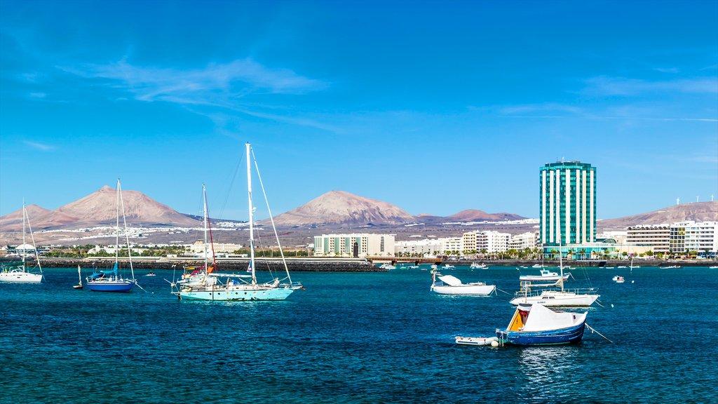 Lanzarote featuring a coastal town