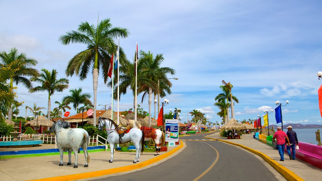 Western Nicaragua which includes tropical scenes, a coastal town and street scenes