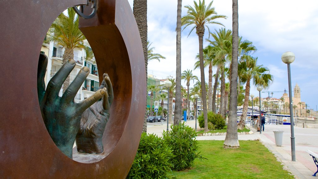 Sitges featuring outdoor art and art