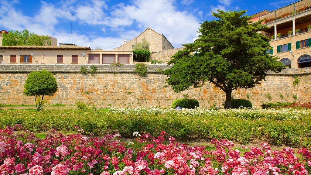 Parc de La Mar featuring heritage architecture, flowers and a garden