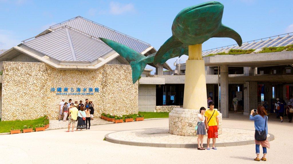 Okinawa Churaumi Aquarium which includes outdoor art and marine life