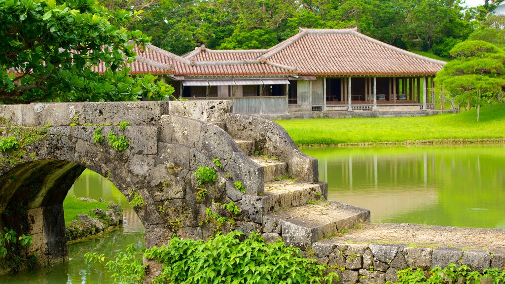 Shikinaen Garden which includes a bridge, heritage architecture and a pond