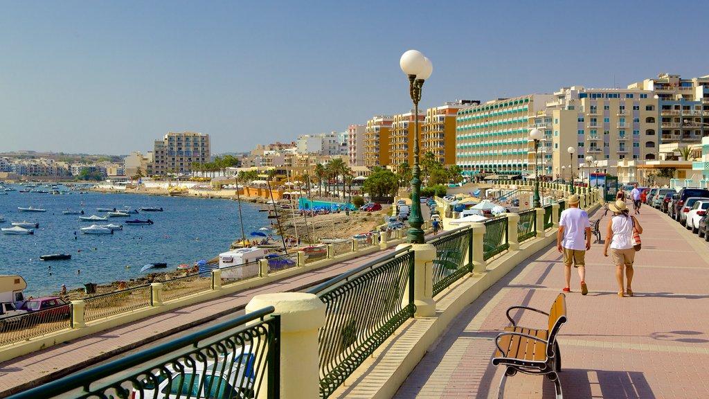 Qawra featuring a coastal town