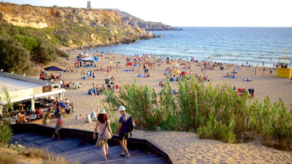 Golden Sands Beach showing a beach and general coastal views