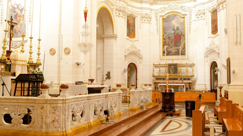 Mellieha Church showing religious elements, heritage architecture and interior views