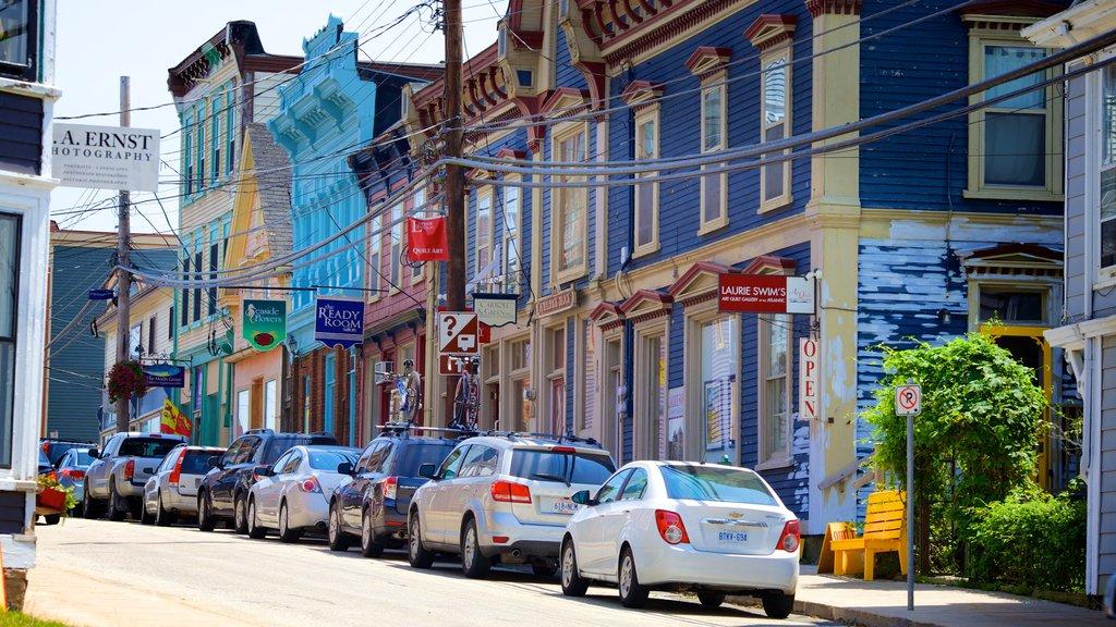 Lunenburg featuring signage and street scenes