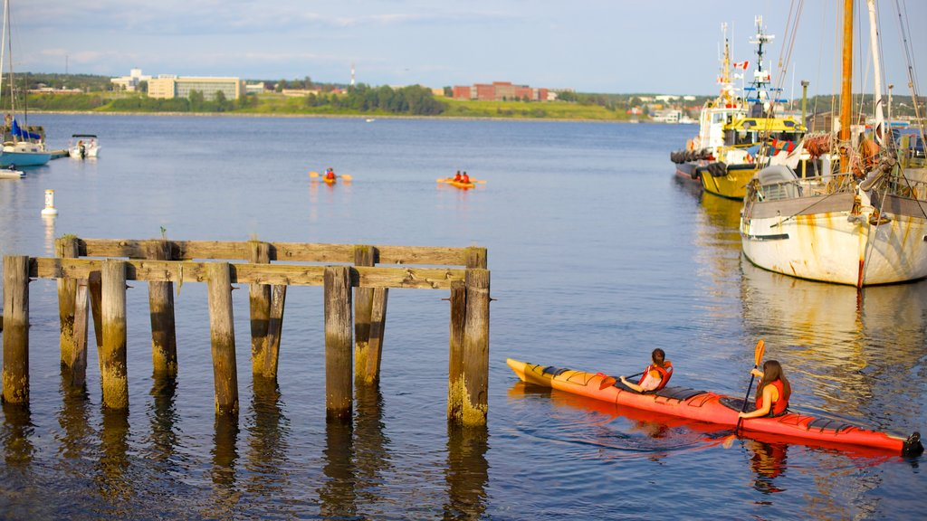 Halifax Waterfront Boardwalk showing kayaking or canoeing and a marina