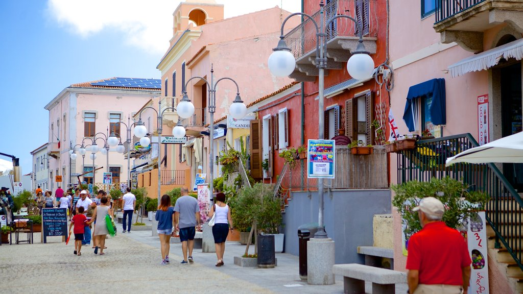 Santa Teresa di Gallura showing street scenes as well as a large group of people