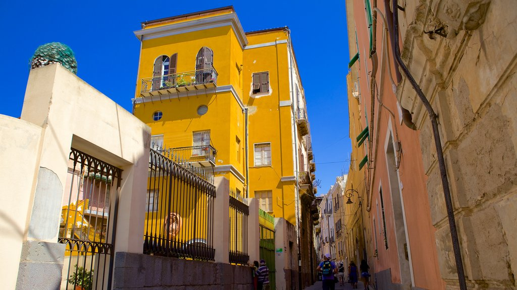 Cagliari featuring a house, street scenes and heritage architecture
