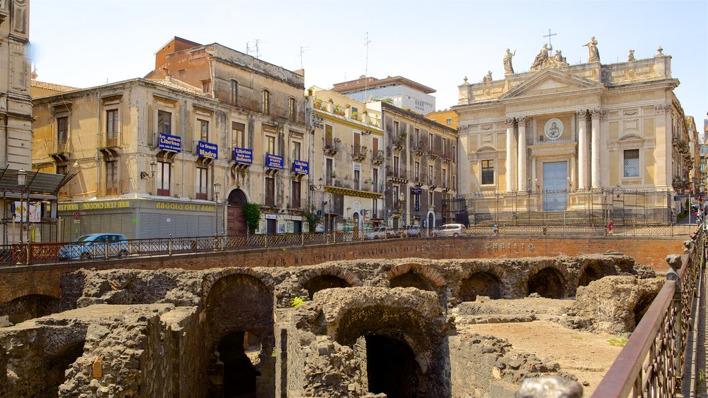 Roman Amphitheater featuring building ruins and heritage architecture