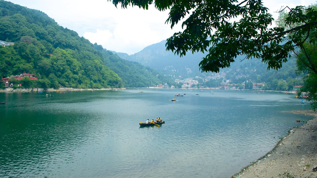 Nainital Lake which includes a small town or village, kayaking or canoeing and a lake or waterhole