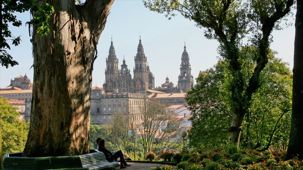 Santiago de Compostela showing heritage architecture, a garden and a church or cathedral