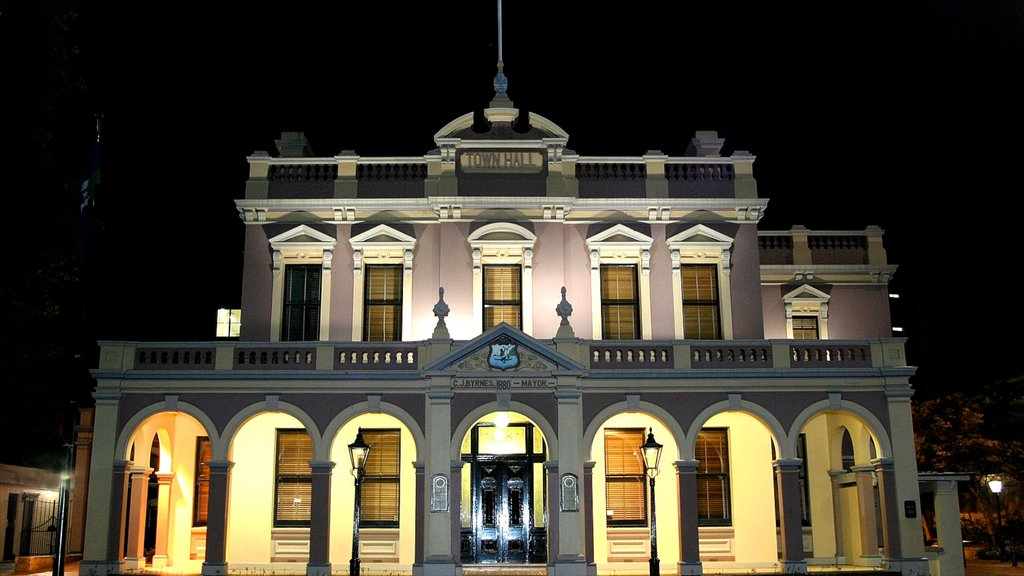Parramatta featuring heritage architecture, night scenes and an administrative buidling