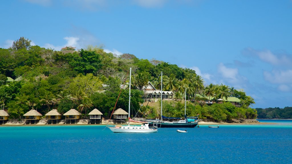 Iririki Island featuring boating, tropical scenes and general coastal views