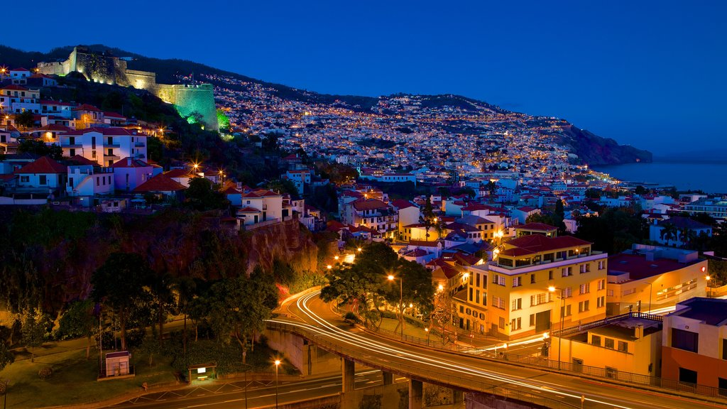 Madeira Island showing night scenes and a coastal town