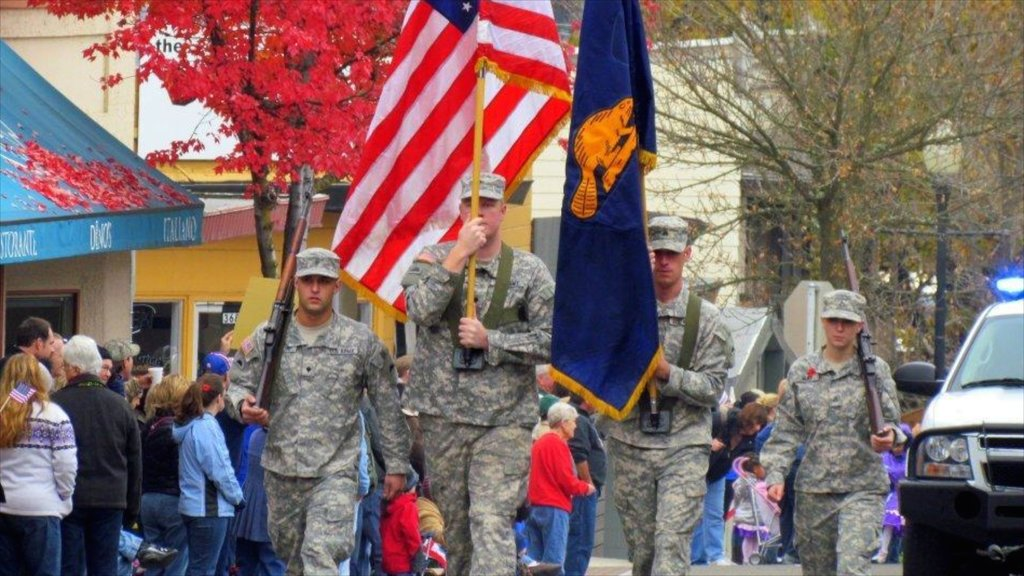 Roseburg which includes military items and street scenes as well as a large group of people
