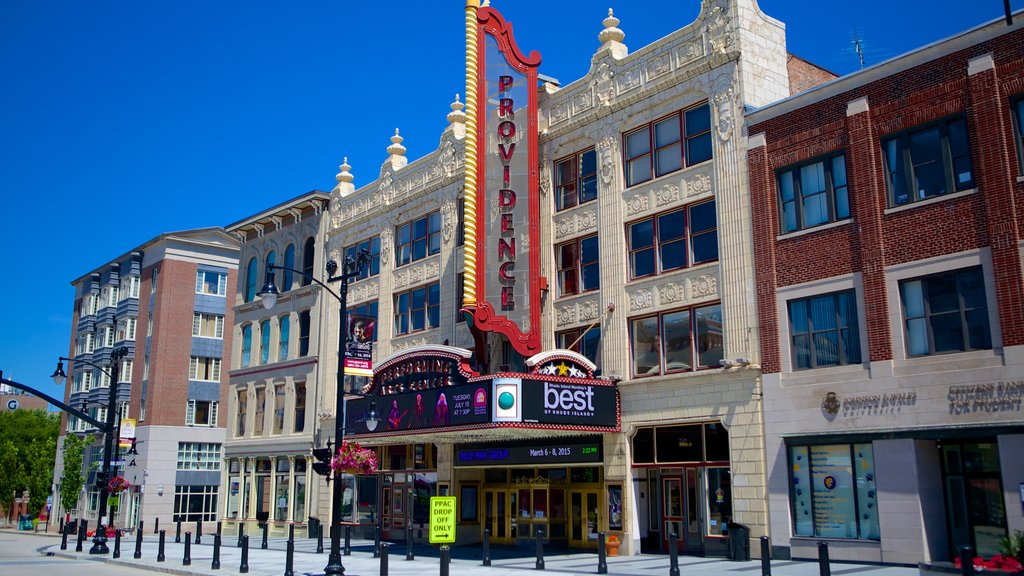 Providence Performing Arts Center showing street scenes