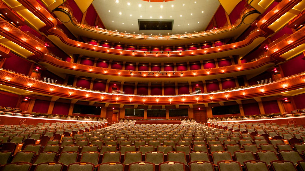 New Jersey Performing Arts Center featuring theater scenes, modern architecture and interior views