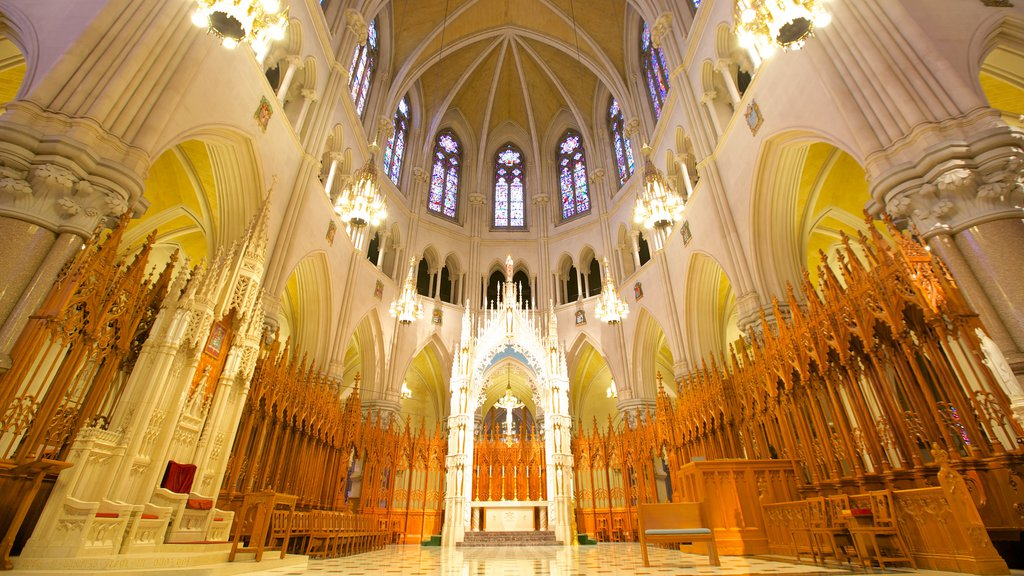 Cathedral of the Sacred Heart which includes a church or cathedral, interior views and religious elements
