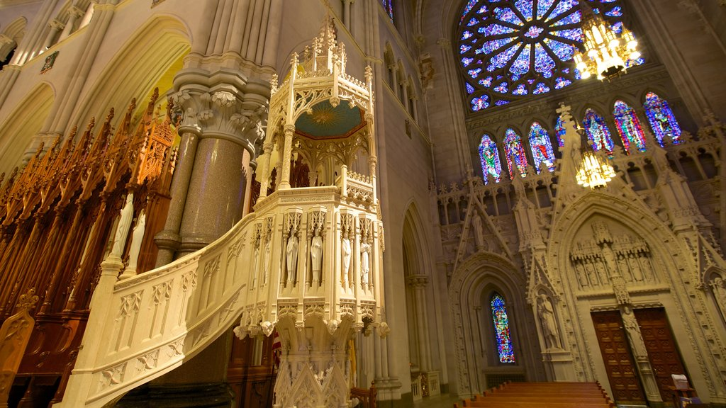 Cathedral of the Sacred Heart which includes heritage architecture, interior views and religious elements