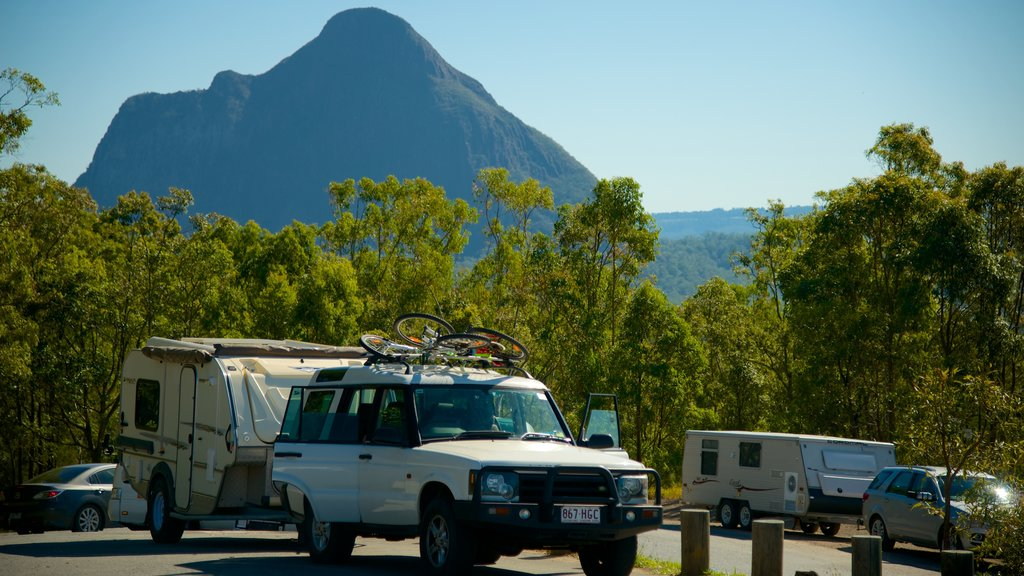 Glasshouse Mountains National Park featuring mountains, forests and touring