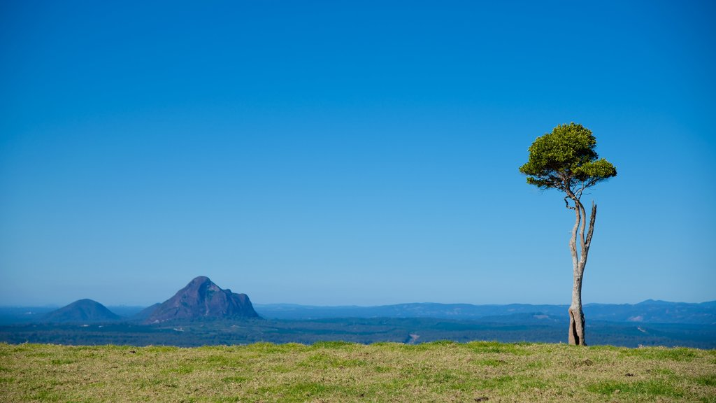 Glasshouse Mountains National Park which includes mountains and tranquil scenes