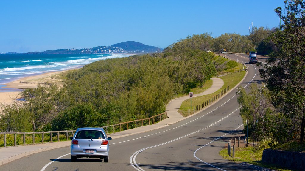 Peregian Beach which includes general coastal views, landscape views and vehicle touring