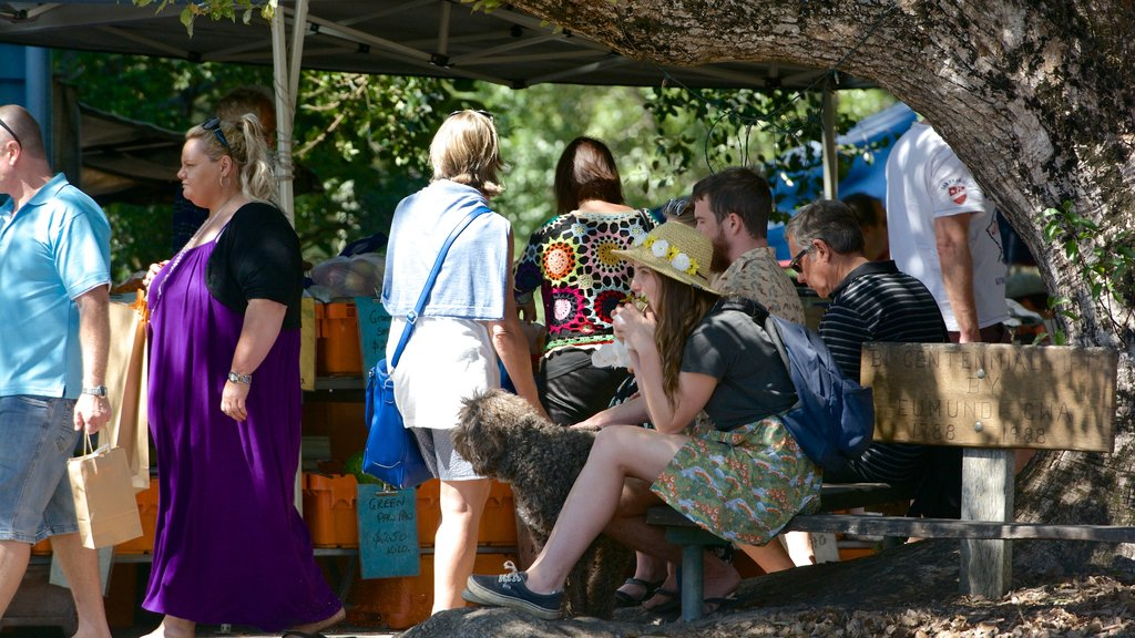 Eumundi which includes markets as well as a large group of people