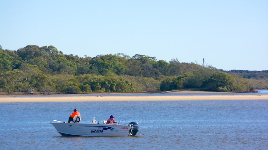 Noosa showing boating and general coastal views as well as a small group of people