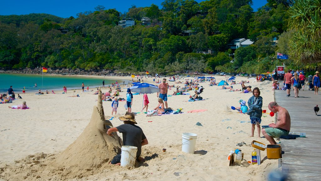 Noosa Beach which includes a beach as well as a large group of people