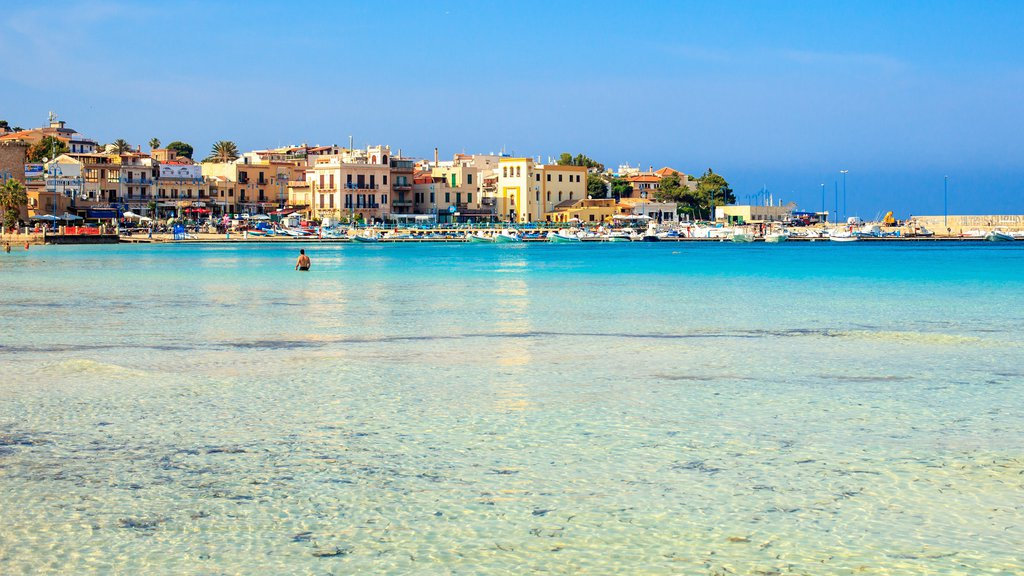 Palermo which includes a coastal town and general coastal views