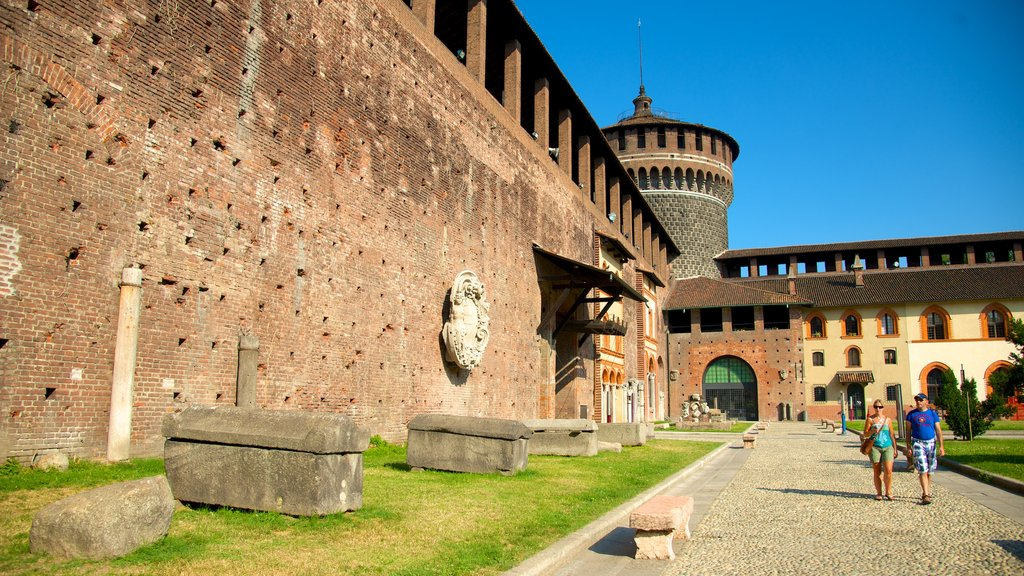 Castello Sforzesco showing heritage elements and chateau or palace as well as a small group of people