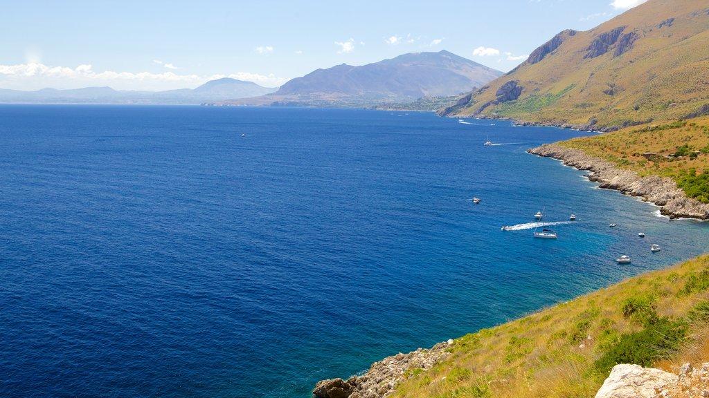Zingaro Beach featuring rugged coastline, landscape views and general coastal views