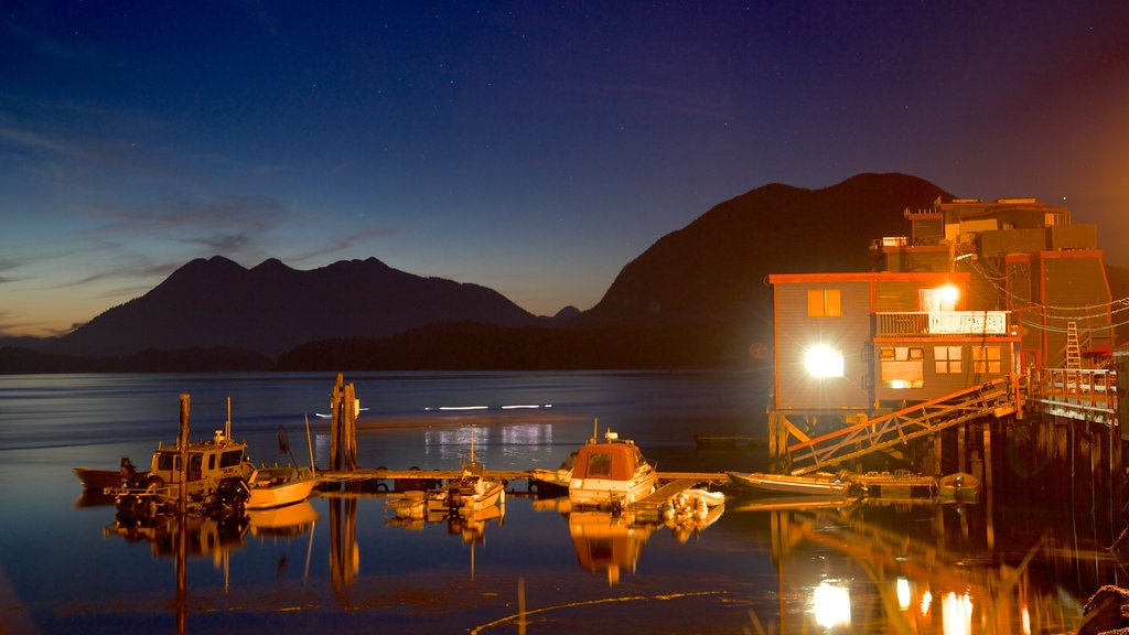 Tofino featuring boating, a sunset and a bay or harbor