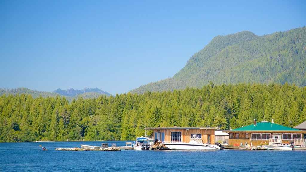 Tofino which includes general coastal views, boating and forest scenes