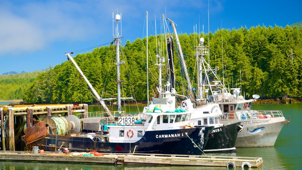 Ucluelet which includes a bay or harbor, boating and general coastal views