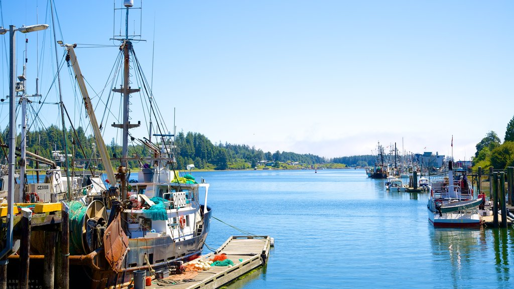 Ucluelet which includes boating, a marina and general coastal views