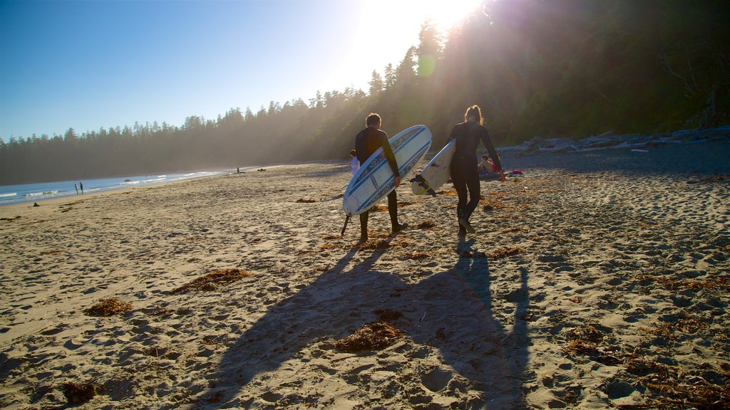 Pacific Rim National Park Reserve which includes a sandy beach and surfing as well as a small group of people