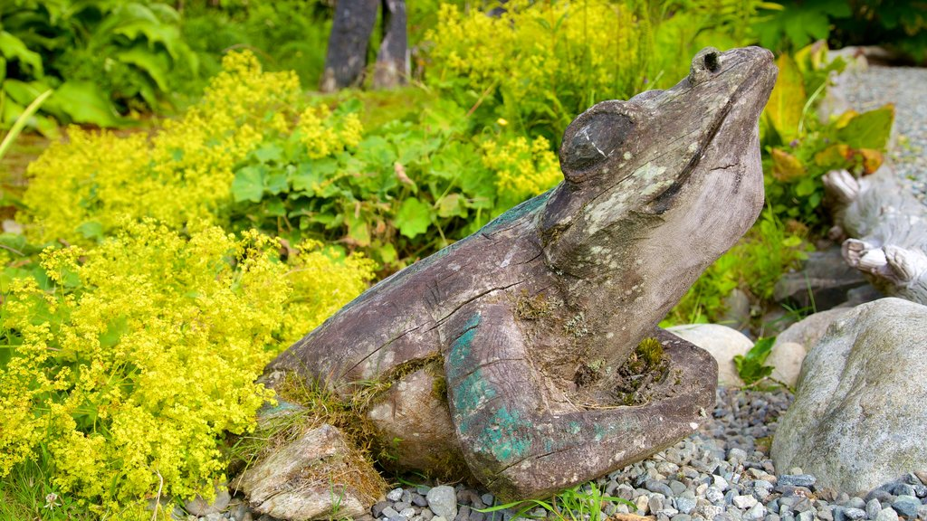 Tofino Botanical Gardens showing a park and outdoor art
