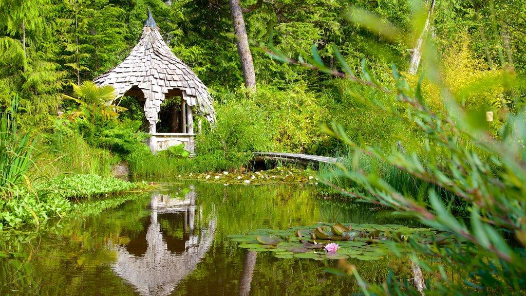 Tofino Botanical Gardens showing a garden and a pond