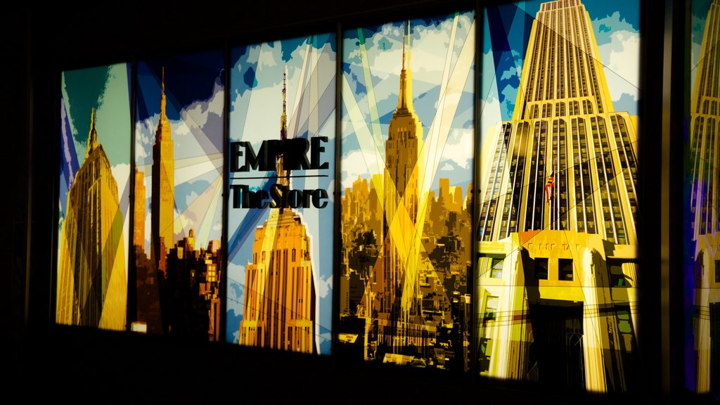 Empire State Building which includes signage