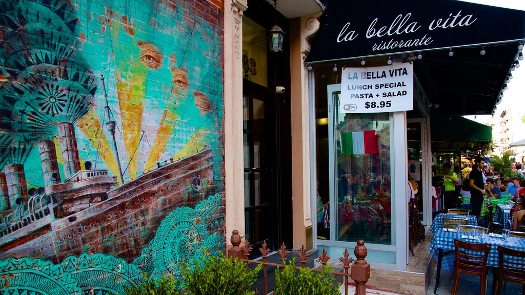 Little Italy showing outdoor eating, outdoor art and dining out