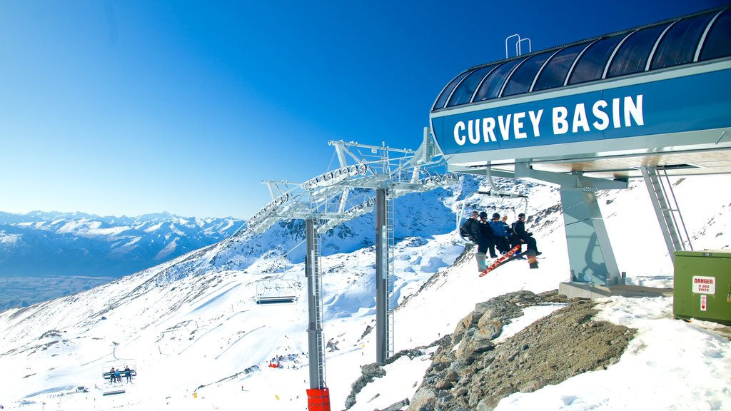 The Remarkables Ski Area featuring a gondola, snow and landscape views