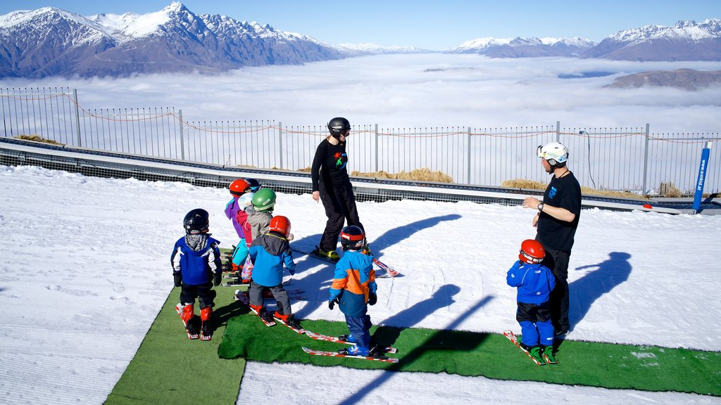 Coronet Peak Ski Area which includes snow and snow skiing as well as children