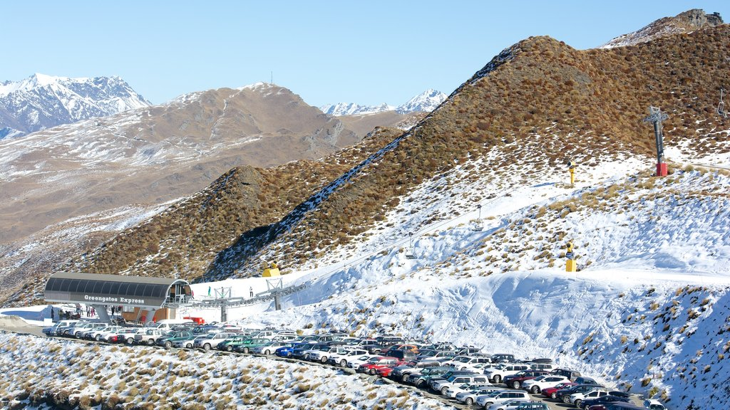 Coronet Peak Ski Area featuring snow, tranquil scenes and mountains