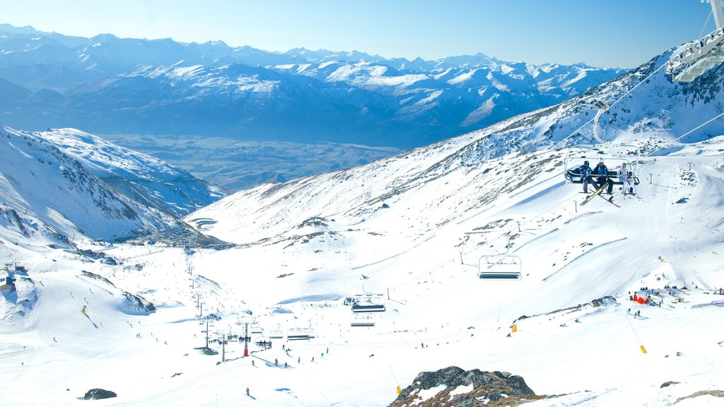 The Remarkables Ski Area which includes landscape views, snow and a gondola