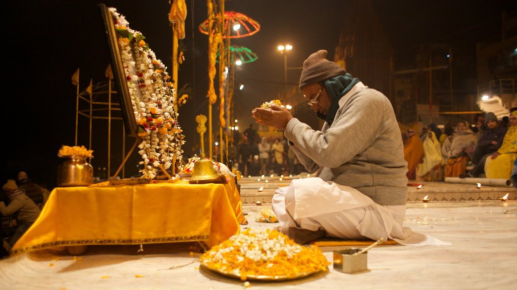 Varanasi which includes religious elements as well as an individual male