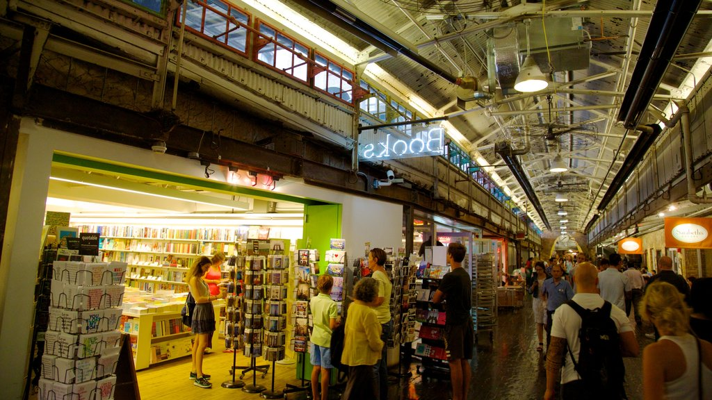 Chelsea Market featuring markets, shopping and interior views